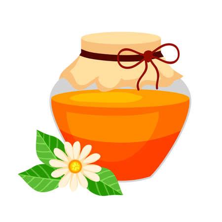 Vector flat illustration of jar honey and flower