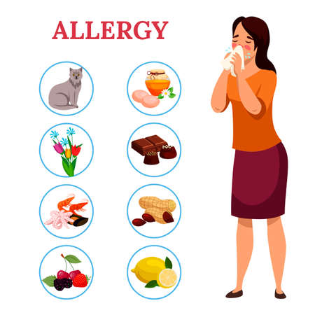 Allergy concept. Woman sneezes or blows his nose in handkerchief, allergic reaction of immune system. Types of allergens: some foods, sweets, pet hair, seasonal flowers. Vector character illustration.