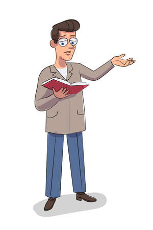 Vector character illustration of man reads book aloud