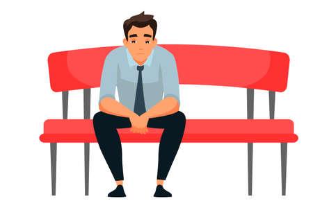 Vector character illustration sad man sits at sofa alone