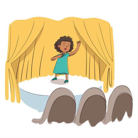 Vector character illustration of kid talent show Vector Illustration