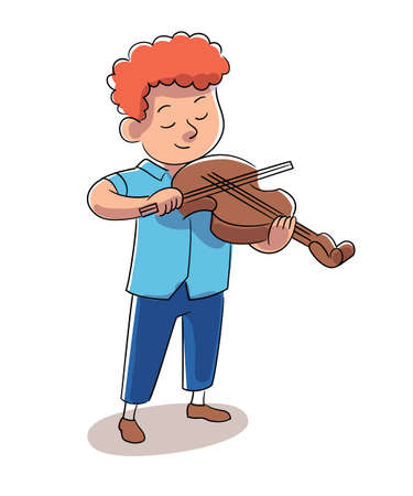 Boy violinist vector character plays violin instrument. Little musician performs. Happy childhood, hobby, entertainment, child performance concept.