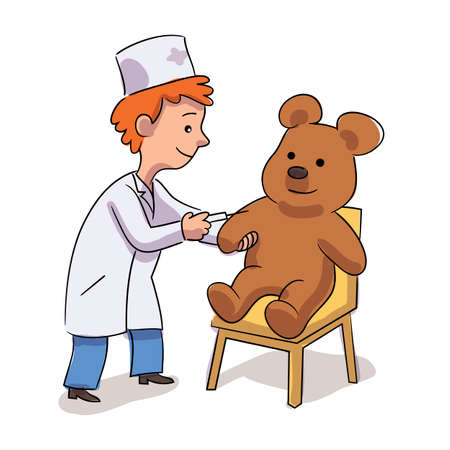 Little cute boy doctor character in white coat uniform doing injection to teddy bear. Kid with syringe for vaccination. Playful pastime at home or kindergarten. Future profession. Vector illustration.