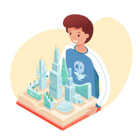 Vector character illustration of boy with pop up book