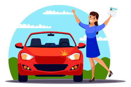 Happy woman with driver license stand near car
