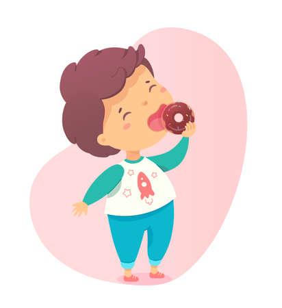 Cute little boy enjoy eating sweet chocolate donut Ilustración de vector