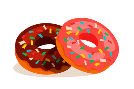 Sweet chocolate donuts isolated on white background. Glossy doughnut cakes with colorful decoration on glaze cream. Glazed sugar ring. Tasty pastry. Vector Confectionary and bakery shop assortment.