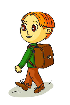 Vector schoolboy with backpack walking on white