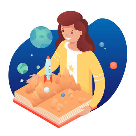 Girl with pop up book. Smiling cute kid reads story about space, spaceship, galaxy planets. Educational textbook with three-dimensional pages develops imagination.
