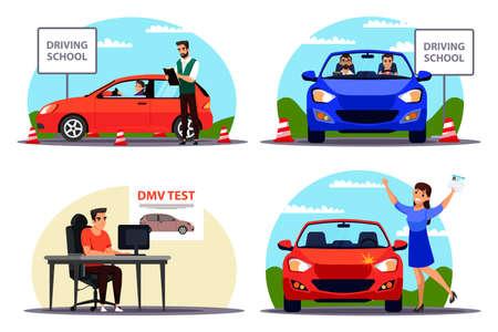 Education and examination at driving school set