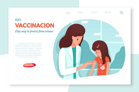 Schedule children vaccination vector landing page