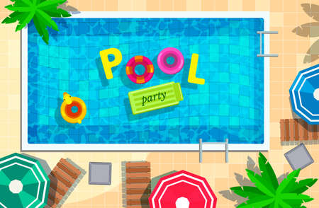 illustration of swimming pool in top view background, Pool Party sign