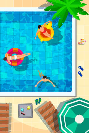 illustration of swimming pool in top view background