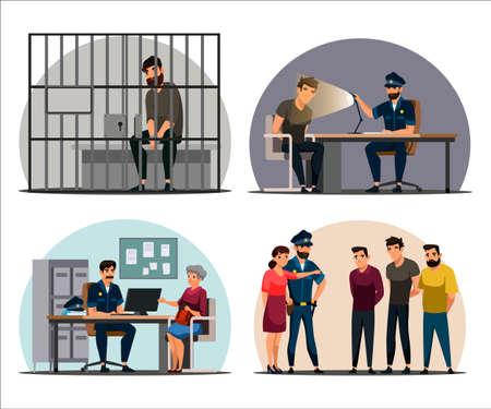 Vector character illustration of police work scenes set