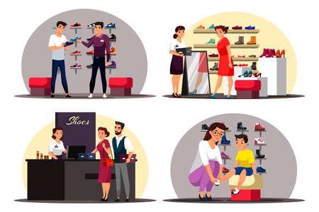 Vector character illustration of shoe store scenes set