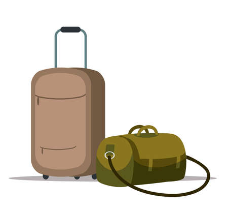 Vector flat illustration of plastic suitcases and travel bag