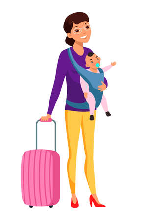 Vector character illustration of mother travelling with baby in sling