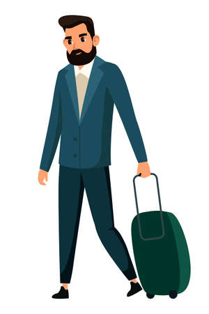 Vector character illustration of man walks with plastic suitcases