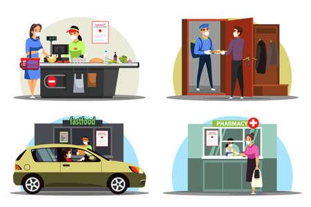 Masked people in distance service scenes set, coronavirus pandemic