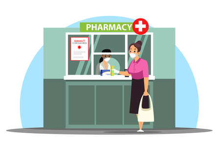Masked woman customer buying medicines at pharmacy counter Ilustrace