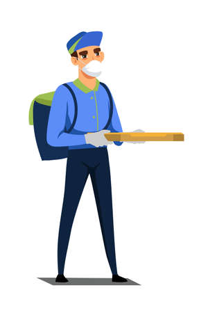 Masked courier with bag holding pizza box isolated person