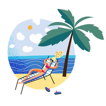 Woman in swimsuit lying in sun lounger under palm tree