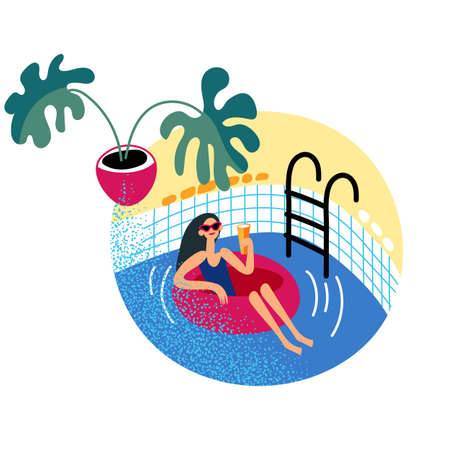 Woman in swimsuit relaxation in pool, swimming in rubber ring Ilustrace
