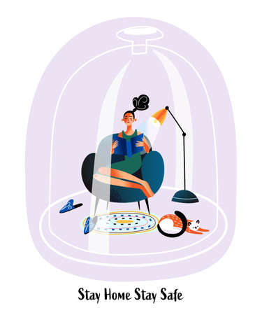 Stay home Stay safe concept. Woman is reading book Ilustrace