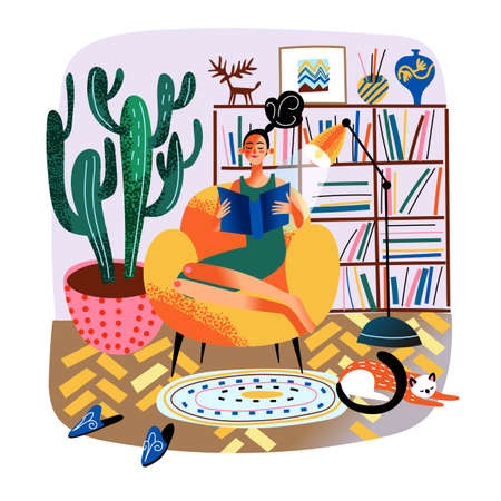 Woman reading book, sitting in armchair, daily life routine