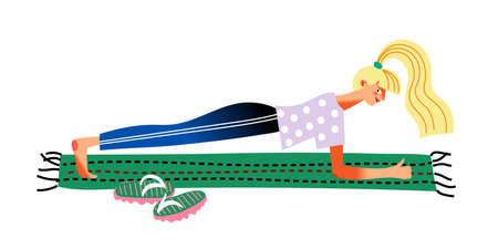 Woman doing yoga asana plank, daily life routine