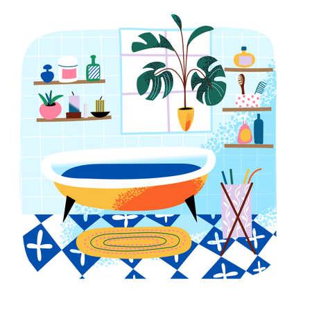 Interior design of bathroom cute background