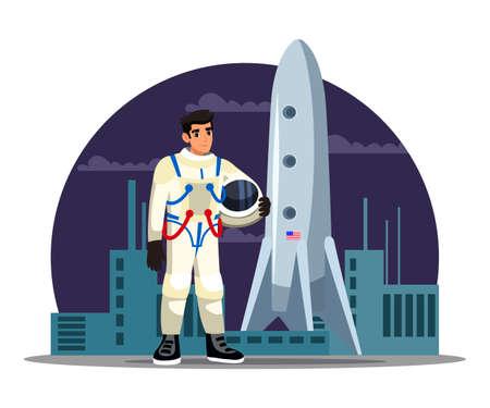 Man astronaut standing near spaceship shuttle