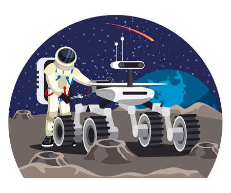 Vector man astronaut repairing moon rover car Ilustrace