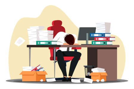 Overworked employee sleeping on desk at workplace Ilustrace