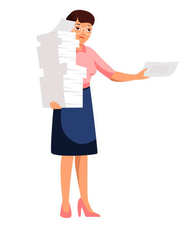 Sad unhappy secretary with paper pile on white