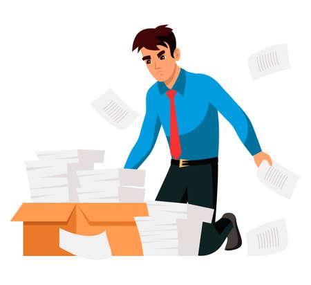 Overworked employee kneeling front of paper box