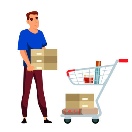 Man customer character bringing constructional material putting glue, stoneware tile floor or wall coating into shopping trolley cart. Stand showcase with goods. Vector illustranion.