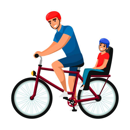 Father cycling cheerful child on bike outdoor Vecteurs