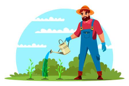 Vector man farmer agrarian watering green seedling