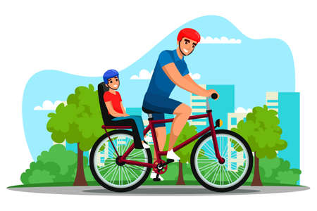 Father cycling cheerful child on bike outdoor