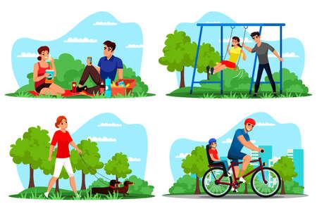 People rest outdoor on nature vector scene set Ilustrace