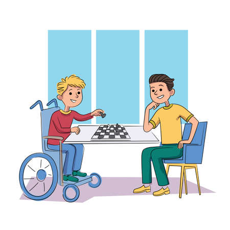 Disabled and healthy children friend playing chess