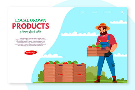 Local grown product webpage banner vector design Ilustrace