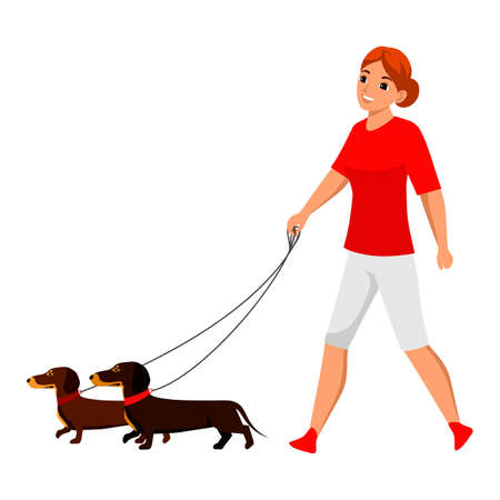 Vector young woman pet owner character walking with dog. Active doggy playing. Lady with canine animal on nature