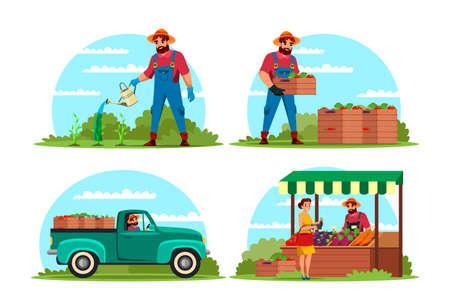 Farmer growing vegetable harvest for sale set