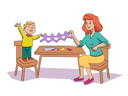 Child and babysitter making paper garland on white Ilustrace