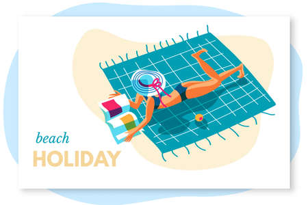 Woman rest on seacoast beach holiday lettering