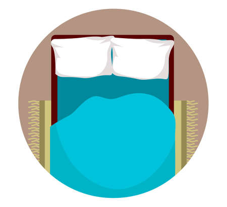 Bed with white pillow and blue blanket top view Ilustrace