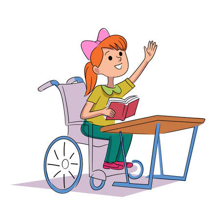 Disable girl in wheelchair study isolated on white