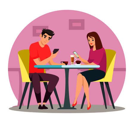 Man and woman couple using digital gadget in cafe